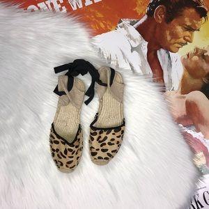 Soludos Classic Leopard Calf Hair Sandal in Tan